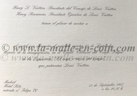 invitation Henry et racamier LV madrid