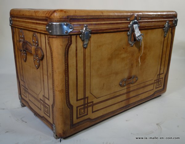 R1724 Natural leather high steamer trunk