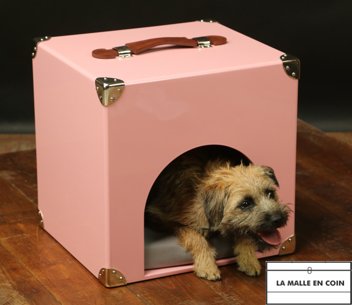 Pink lacquered doghouse or cathouse trunk R2851