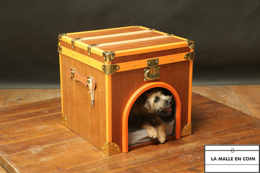Cat or doghouse trunk in mahogany and oak veneer  R2848