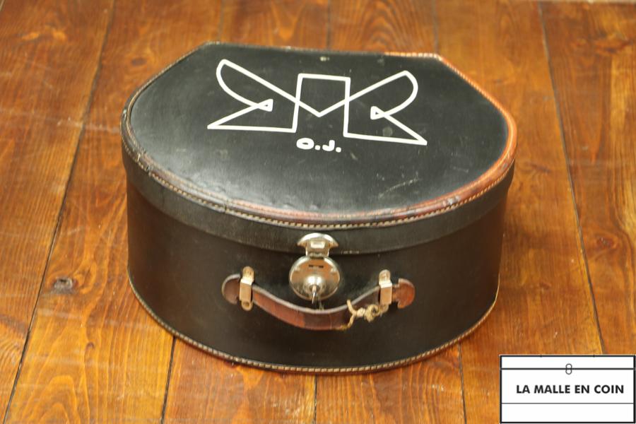R2603 Malle à chapeau cuir - Toile et clef
