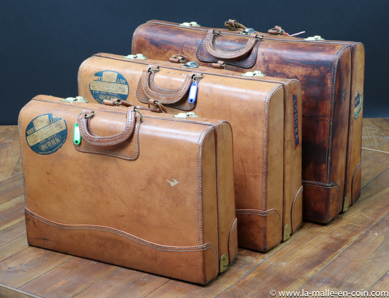 R2283-84-85 Set de 3 valises cuir Gigognes