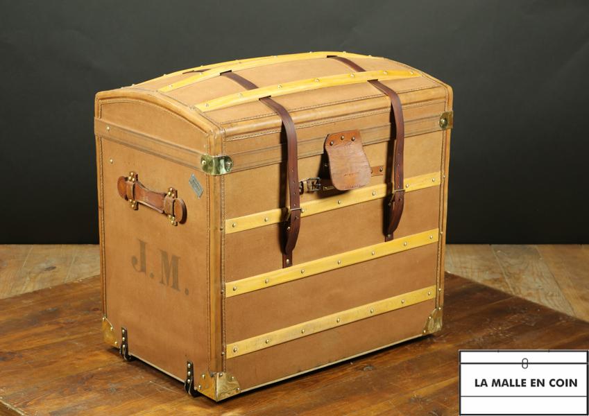 Malle bombée Moynat toile et cuir  - R2678
