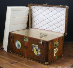 Leather Goyard steamer trunk with key