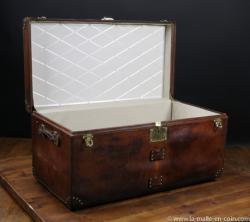 Goyard leather steamer trunk